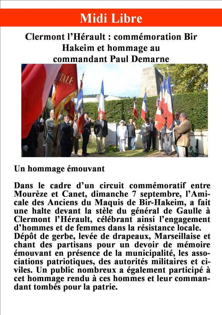 Hommage au commandant Paul Demarne