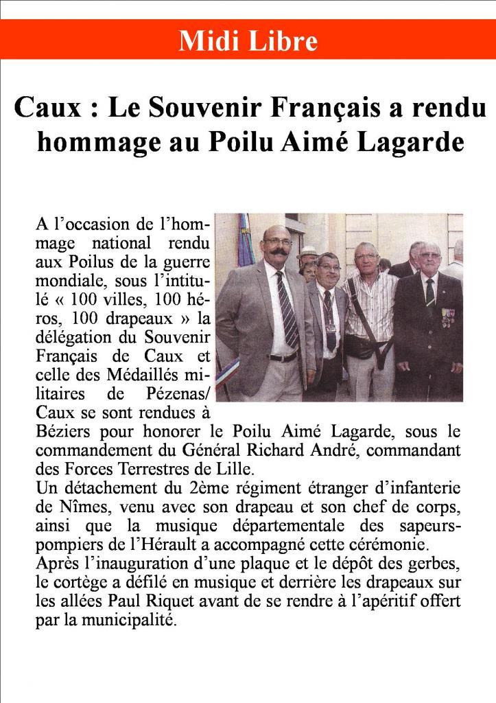 Hommage au Poilu Aimé Lagarde