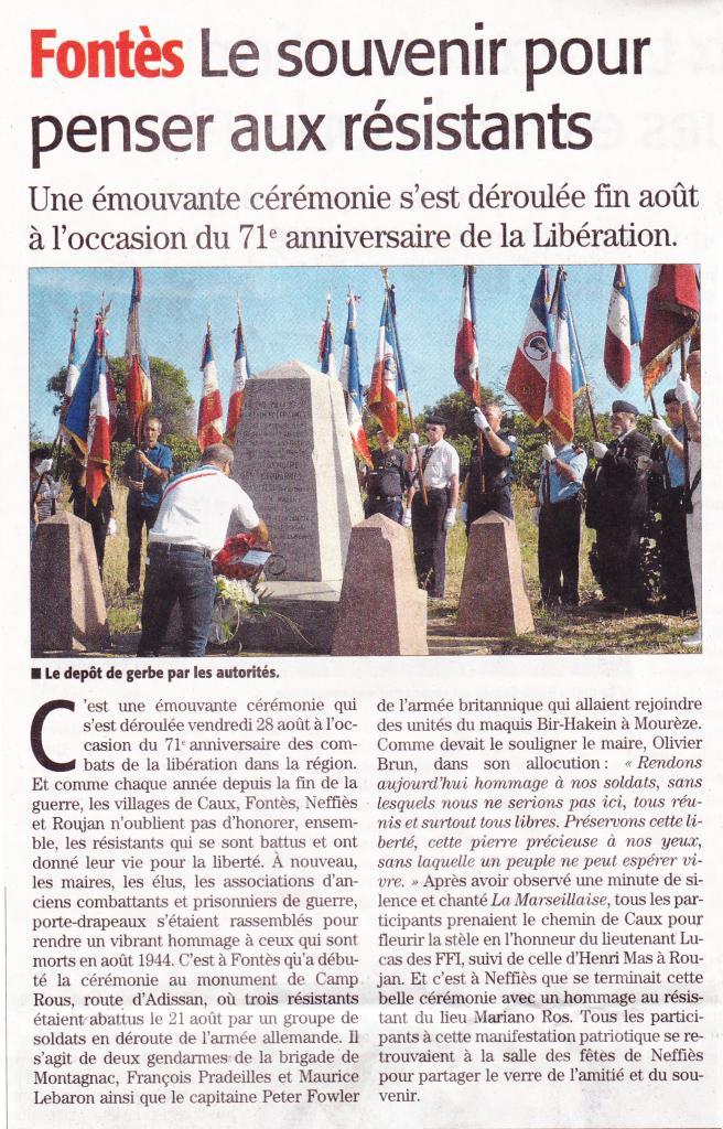 Libération des 4 communes  Fontès - Août 2015
