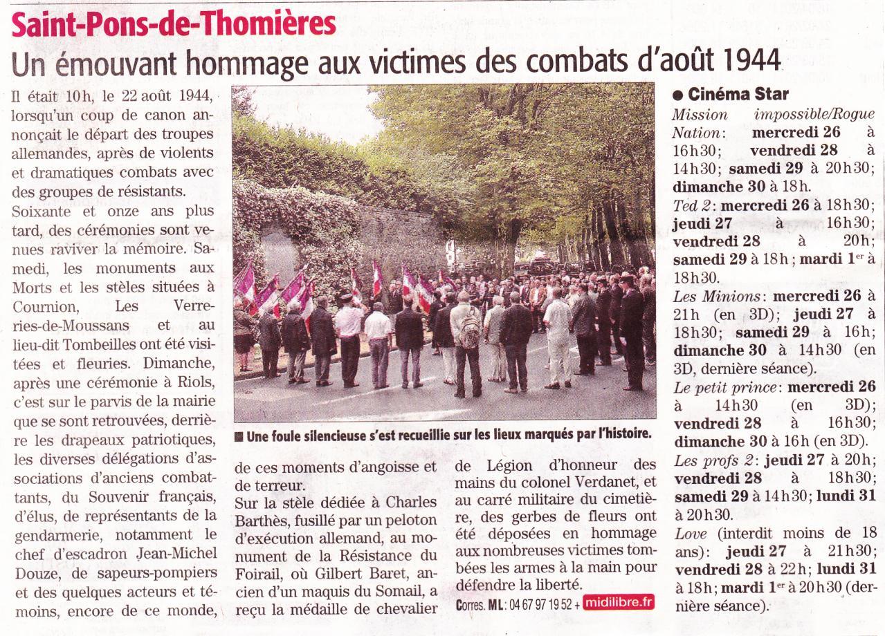 Hommage aux victimes des combats d'août 1944