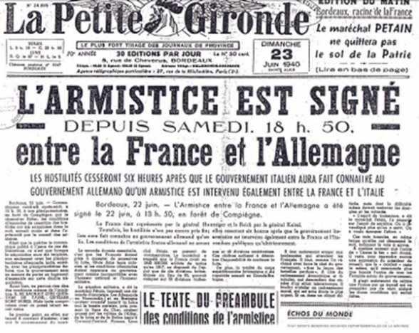 L'armistice franco-allemande est signée le :